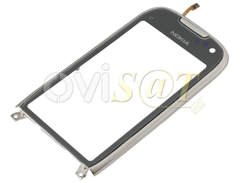Nokia C7-00 carcasa marco frontal (frosty metal) plata con pantalla ...