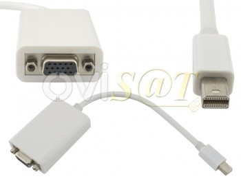 Adaptador Mini Display Port (Thunderbolt) a VGA para  Macbook, Macbook Pro, Macbook Air, color blanco