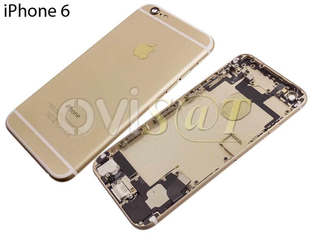ba63f76ff5a Carcasa trasera, tapa de bateria dorada para iPhone 6 de 4.7