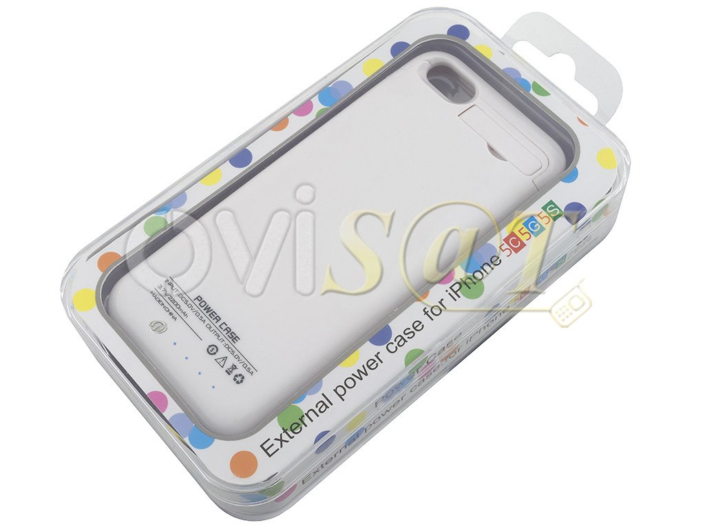 Bater a externa con funda protectora blanca para iphone 5 5s 5c 5se en blister - Funda bateria iphone 5c ...