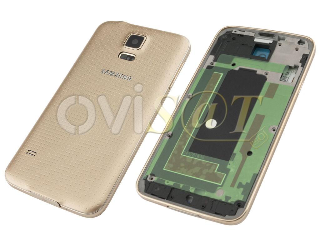 5505f947a79 Carcasa completa dorada para Samsung Galaxy S5, G900F